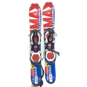 Salomon Grom Kid's USED 61cm Snowblades w. Non-release Ski boot bindings blue/red