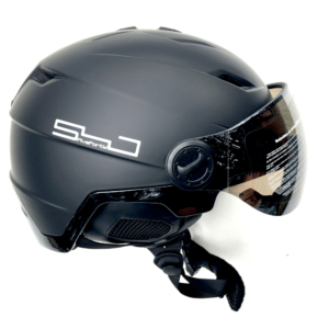 Snowjam Poseidon Ski Helmet Shiny Black with built-in Goggles