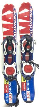 Salomon Grom Kid's USED 61cm Snowblades Skiboards w. Non-release Ski boot bindings blue/red