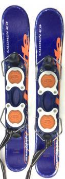 Salomon Grom Kid's USED 61cm Snowblades Skiboards w. Non-release Ski boot bindings blue/orange