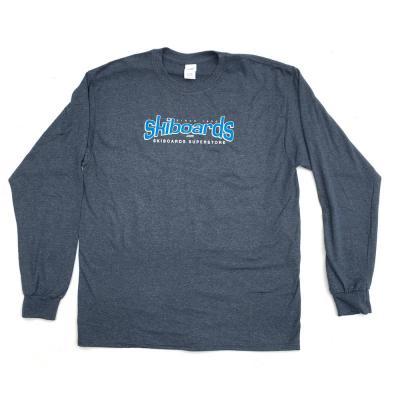 Skiboards.com Logo Tee Shirt Long Sleeve Charcoal