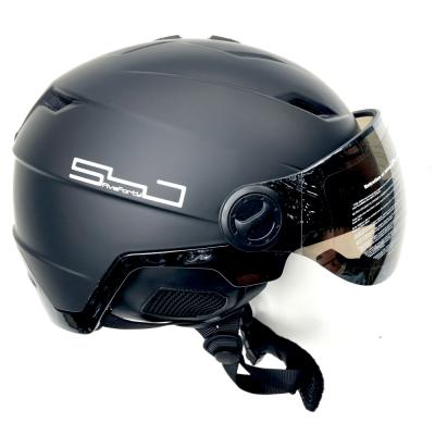 Snowjam Poseidon Ski Helmet Shiny Black with built-in Goggles